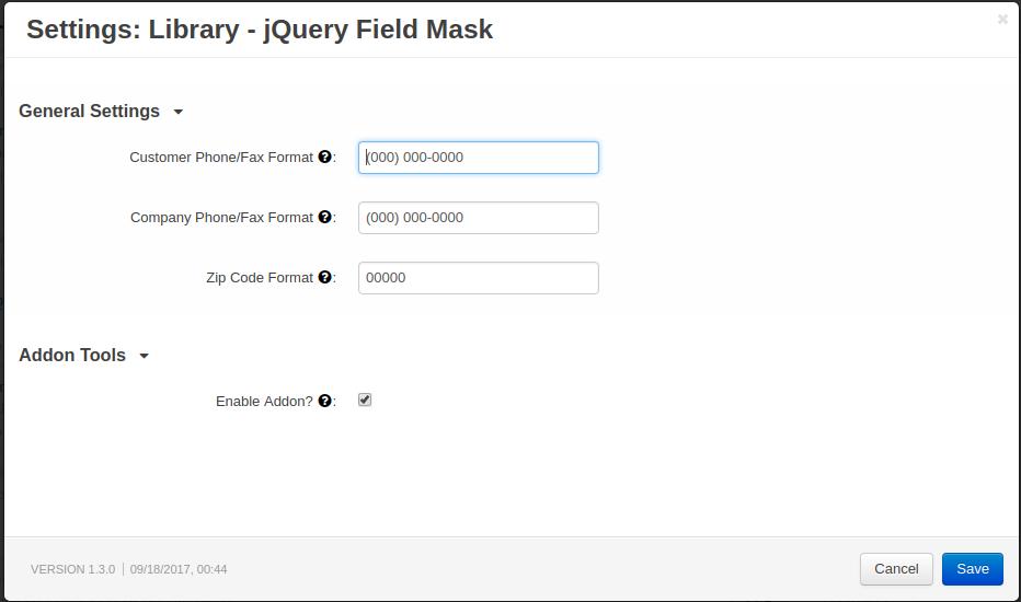 CS-Cart Library - jQuery Mask Phone & Zip Code Formatting
