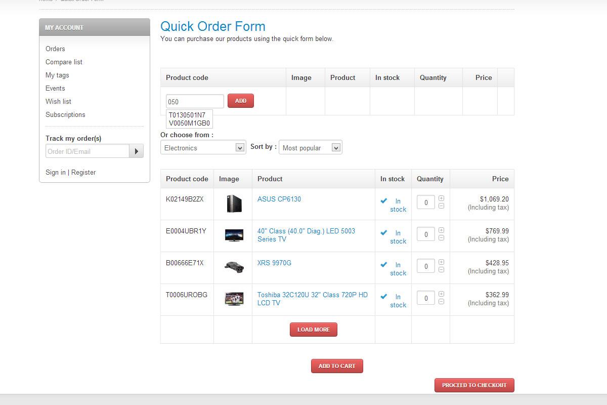 quick order form  CS-Cart Quick Order Form