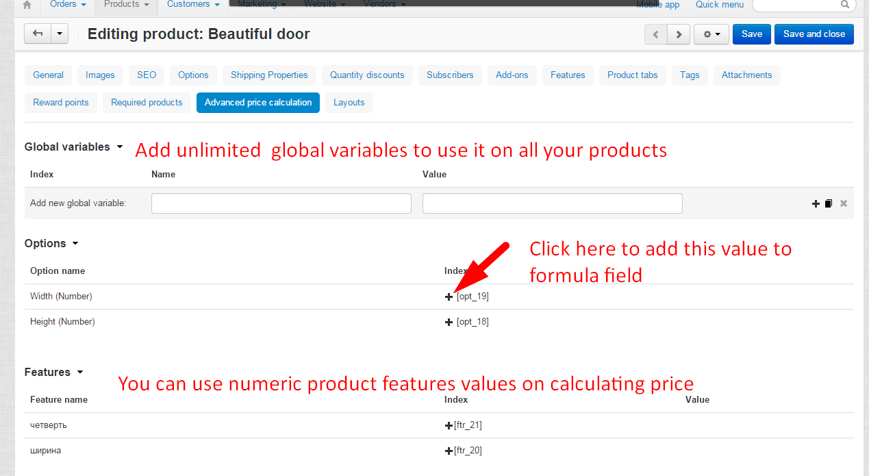 Advanced price calculation Add-on for cs-cart