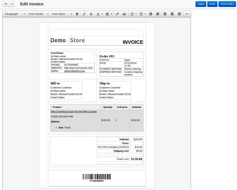 invoice packing slip constructor cs cart add on by cart power invoice packing slip constructor