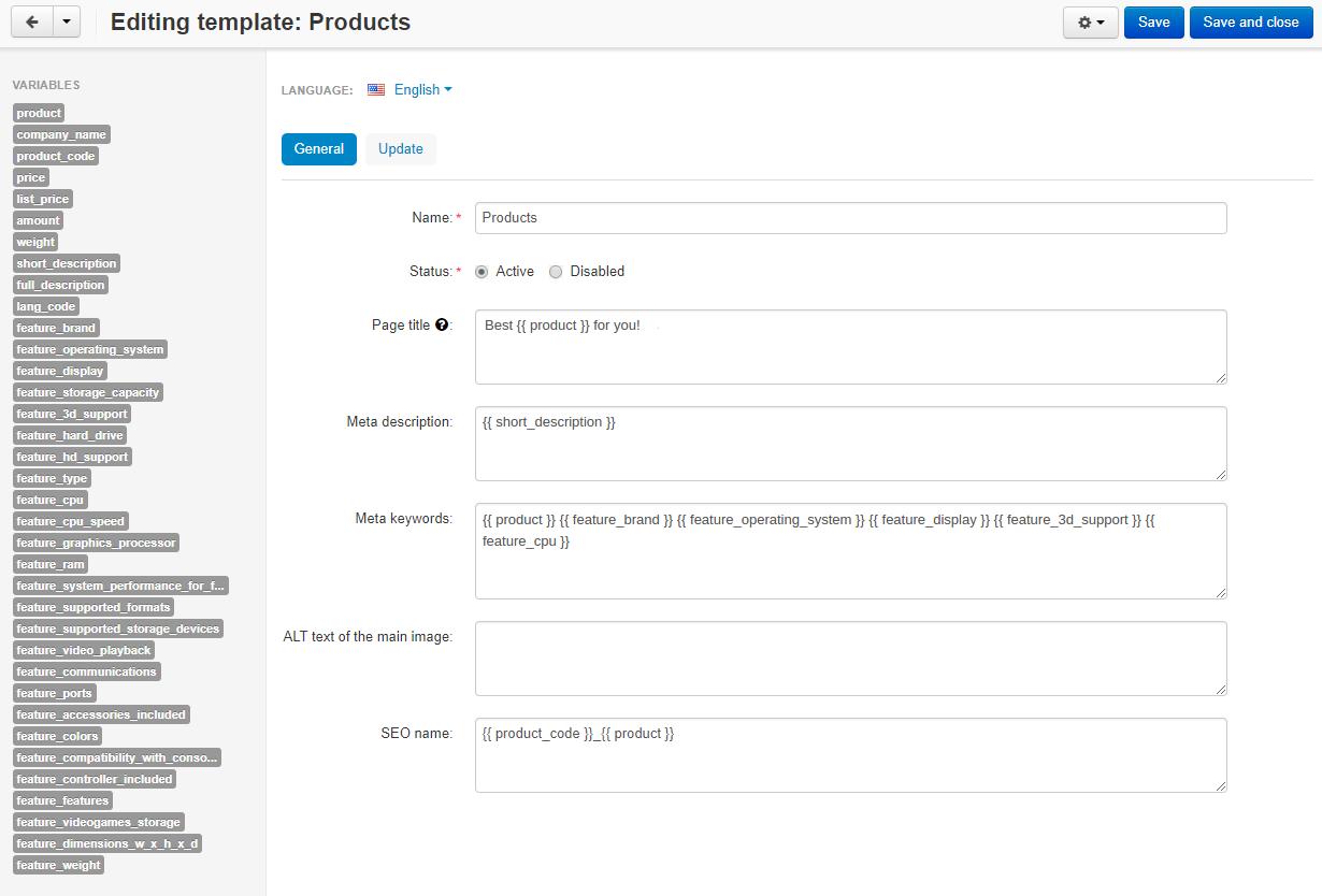 SEO Templates add-on for CS-Cart