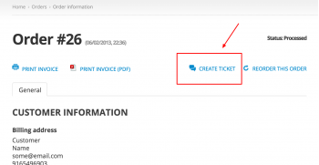 Create Ticket direct link on order details page for customers