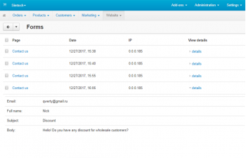 Forms in Admin Panel