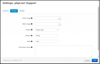 phpLive! Support Chat for CS-Cart Settings Desktop