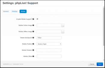 phpLive! Support Chat for CS-Cart Settings Mobile