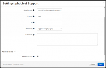 phpLive! Support Chat for CS-Cart Settings Main