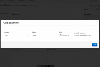 Manual payment adding on the detail order page