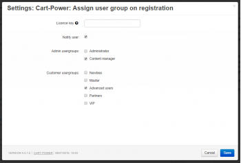 The default user groups are configured in the add-on settings