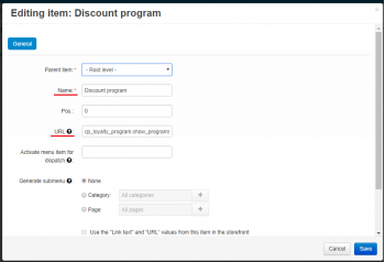 The menu item creation for the discount program page