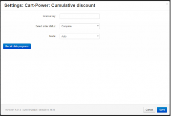 Settings in the Cumulative discount add-on