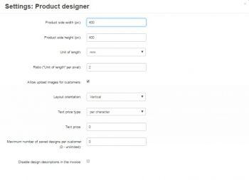 Cs-Cart Product Designer settings