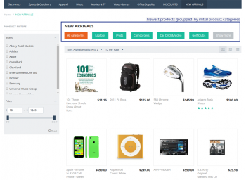 New products page groupped by initial product categories