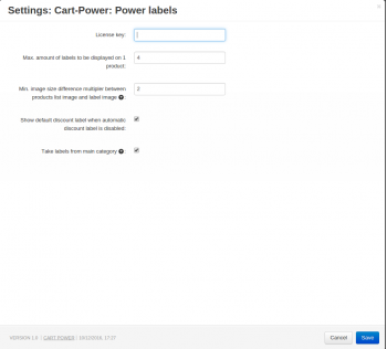 Power labels add-on settings