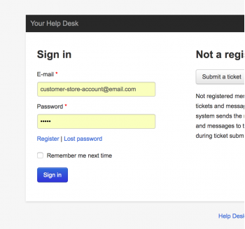 The same help desk log in access as your customers have in your CS-Cart store