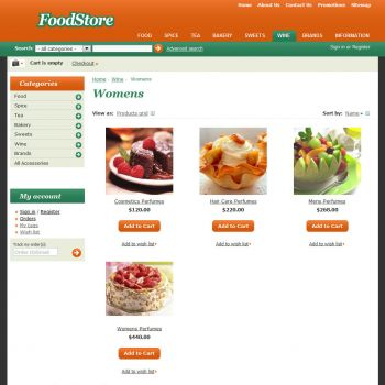 Category of Products - CS-Cart Theme cs000010 Food Orange