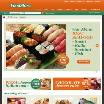 Home Page - CS-Cart Theme cs000010 Food Orange