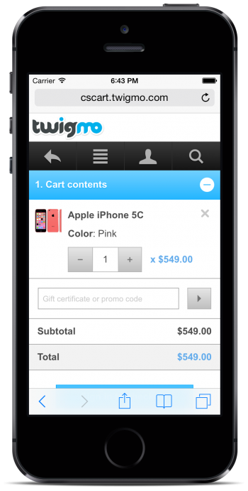 Twigmo Cart and Checkout page