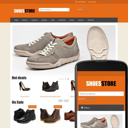 CS-Cart Theme Free Shoes Orange