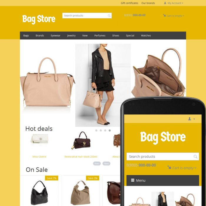CS-Cart Theme Free Bags Ochre